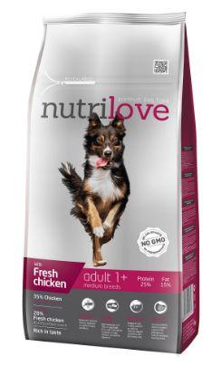 Obrázek Nutrilove pes Adult Medium fresh kuřecí, granule 8 kg