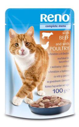 Obrázek RENO Cat hovězí a drůbeží, kapsa 100 g
