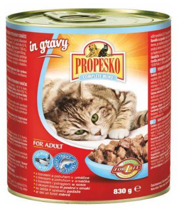 Obrázek PROPESKO Cat losos a pstruh v omáčce, konzerva 830 g
