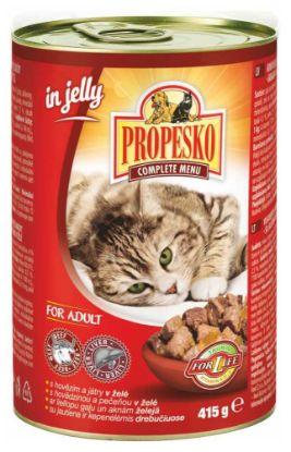 Obrázek PROPESKO Cat hovězí a játra v želé, kousky  415 g