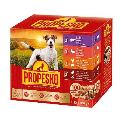 Obrázek PROPESKO Dog kuřecí/jehněčí, krůta, králík s mrkví, kapsa 100 g (pack 12 ks)