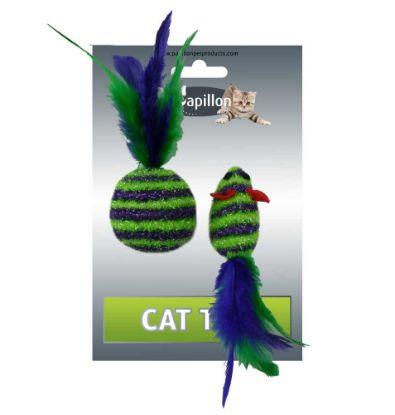 Obrázek Myš a míček s peřím zeleno-fialová pruhy třpyt