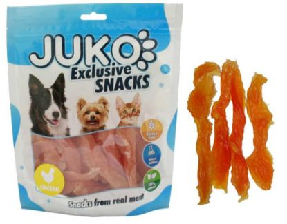 Obrázek JUKO SNACKS Chicken soft jerky made by hand 250 g