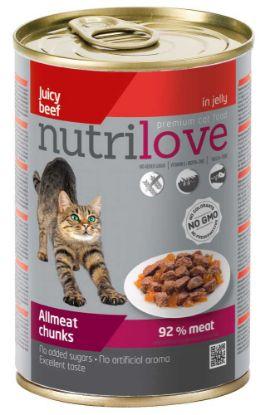 Obrázek Nutrilove kočka hovězí kousky v želé 400 g