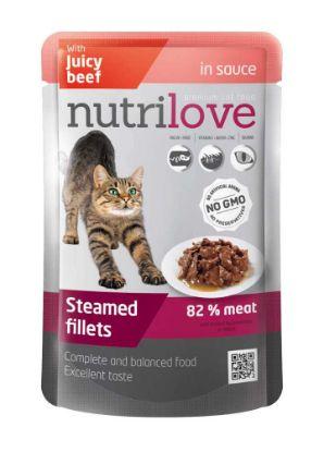 Obrázek Nutrilove kočka hovězí ve šťávě, kapsička 85 g