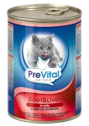 Obrázek PreVital kočka hovězí a játra v želé, kousky 415 g
