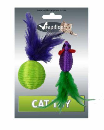 Obrázek Myš a míček s peřím zeleno-fialová mat