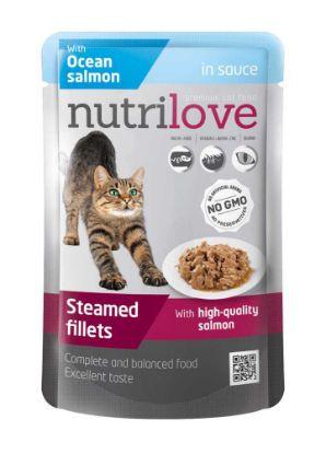 Obrázek Nutrilove kočka losos ve šťávě, kapsička 85 g