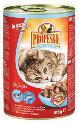 Obrázek PROPESKO Cat losos a pstruh v omáčce, kousky 415 g
