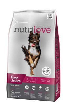 Obrázek Nutrilove pes Adult Medium fresh kuřecí, granule 1,6 kg