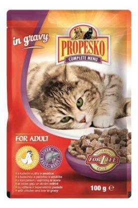 Obrázek PROPESKO Cat kuřecí a játra, kapsa 100 g