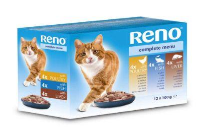 Obrázek RENO Cat drůbeží, rybí a játra, kapsa 100 g (pack 12 ks)