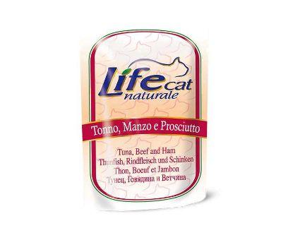 Obrázek LifeCat Tuna & Beef & Ham kapsička 70 g