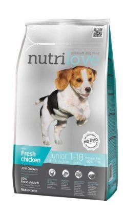 Obrázek Nutrilove pes Junior Small & Medium fresh kuřecí, granule 1,6 kg