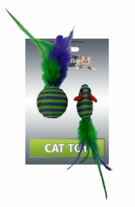 Obrázek Myš a míček s peřím zeleno-fialová pruhy mat