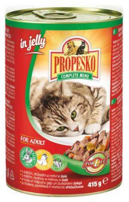 Obrázek PROPESKO Cat králíčí a druběží s mrkví v želé, kousky 415 g