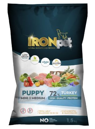 Obrázek IRONpet Dog Puppy Mini  &  Medium Turkey (Krůta) 1,5 kg