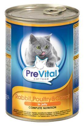 Obrázek PreVital kočka králíčí, drůbeží s mrkví v želé, kousky 415 g