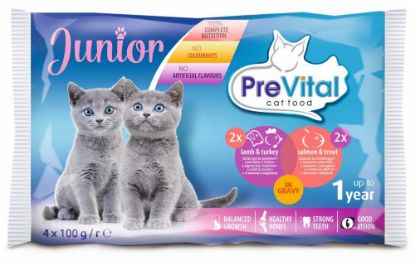 Obrázek Prevital kočka junior jehně, krůta, losos a pstruh, kapsa 100g  (pack 4 ks)