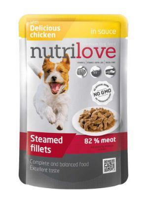 Obrázek Nutrilove pes kuřecí ve štávě, kapsička 85 g