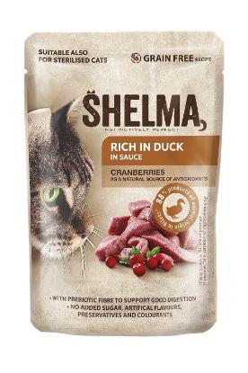 Obrázek SHELMA Cat kachní s brusinkami v omáčce, kapsa 85 g