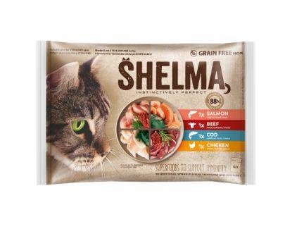 Obrázek SHELMA Cat kuře, hovězí, losos a treska, kapsa 85 g (4 ks)