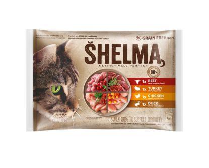 Obrázek SHELMA Cat kuře, hovězí, kachna a krůta, kapsa 85 g (4 ks)