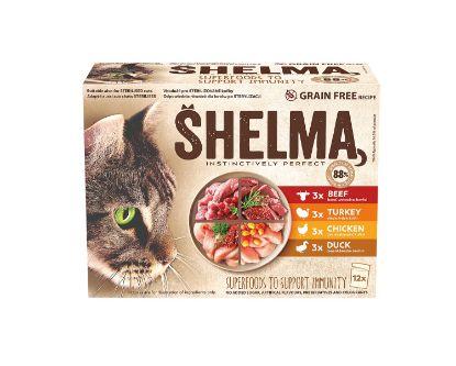 Obrázek SHELMA Cat kuřecí, hovězí, kachní akrůtí, kapsa 85 g (12 ks)