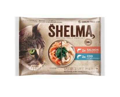 Obrázek SHELMA Cat losos 2x, treska 2 x, kapsa 85 g (4 ks)