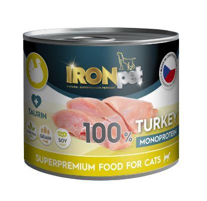 Obrázek IRONpet Cat Turkey (Krůta) 100 % Monoprotein, konzerva 200 g