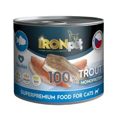 Obrázek IRONpet Cat Trout (Pstruh) 100% Monoprotein, konzerva 200 g