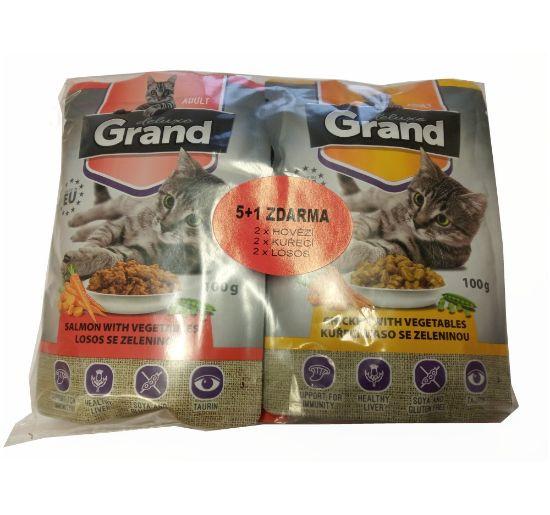 Obrázek z Grand deluxe kapsa pro kočku 6ks-100g MIX (3 příchutě po 2ks)